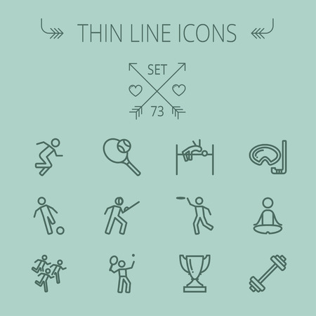 high jump: Sports thin line icon set for web and mobile. Set includes- fencing, tennis racket with ball, running, soccer, marathon, high jump, trophy, yoga, barbell, flying disc icons. Modern minimalistic flat design. Vector dark grey icon on grey background. Illustration