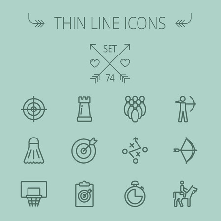 chess rook: Sports thin line icon set for web and mobile. Set includes- chess rook, target board, crosshair, shuttlecock, basketball hoop, bowling pins, stopwatch, archery, bow and arrow, horse riding icons. Modern minimalistic flat design. Vector dark grey icon on g
