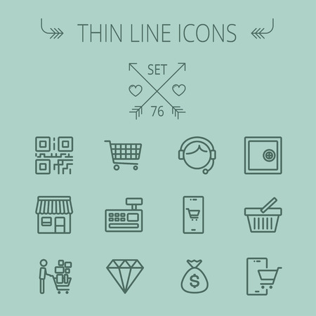 cash register building: Business shopping thin line icon set for web and mobile. Set includes- shopping cart, cash register machine, customer service, QR code, store stall, safe, vault, shopping basket icons. Modern minimalistic flat design. Vector dark grey icon on grey backgro