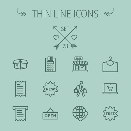 icon: Business shopping thin line icon set for web and mobile. Set includes- electronic calculator, new tag, open sign, box, paper towel, shop, internet shopping, free tag icons. Modern minimalistic flat design. Vector dark grey icon on grey background. Illustration