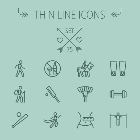 cricket game: Sports thin line icon set for web and mobile. Set includes- walking exercise, hiking, baseball bat and ball, cricket game, skydiving, flippers icons. Modern minimalistic flat design. Vector dark grey icon on grey background.