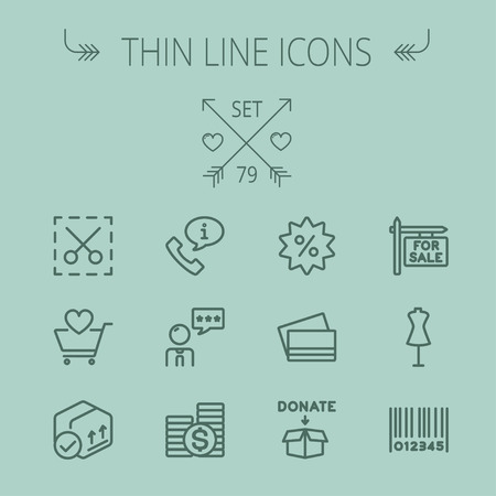 Business shopping thin line icon set for web and mobile. Set includes- stack of coins, cart with heart, box with validation, credit cards, donation box, mannequin, barcode icons. Modern minimalistic flat design. Vector dark grey icon on grey background.