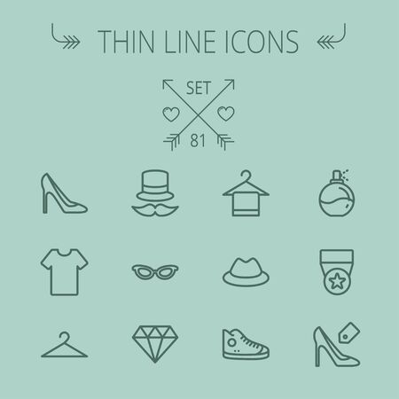 Business shopping thin line icon set for web and mobile. Set includes- vintage cap, cat eyeglasses, diamond, high heel, t-shirt, hanger, cap, rubber shoe, perfume, medal icons. Modern minimalistic flat design. Vector dark grey icon on grey background.