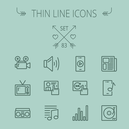 Multimedia thin line icon set for web and mobile. Set includes- speaker volume, notes, knob for volume, equalizer, television, cassette player, newspaper, phonograph icons. Modern minimalistic flat design. Vector dark grey icon on grey background.
