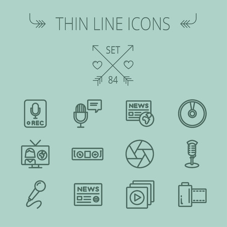 newscaster: Multimedia thin line icon set for web and mobile. Set includes- for recording only sign, microphone, newspaper, newscaster, casette player icons. Modern minimalistic flat design. Vector dark grey icon on grey background.