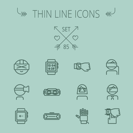 robot hand: Technology thin line icon set for web and mobile. Set includes- smartwatch, virtual reality headset, wristwatch, robot hand icons. Modern minimalistic flat design. Vector dark grey icon on grey background.
