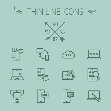 seeker: Technology thin line icon set for web and mobile. Set includes -laptop, monitor, smartphones, magnifying glass, sms, downloading, job seeker, camera. Modern minimalistic flat design. Vector dark grey icon on grey background