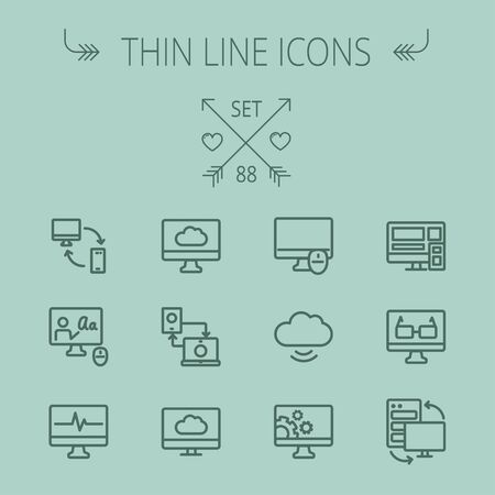 Technology thin line icon set for web and mobile. Set includes - monitors transferring data, cloud, mouse, wifi, gear, speaker. Modern minimalistic flat design. Vector dark grey icon on grey background