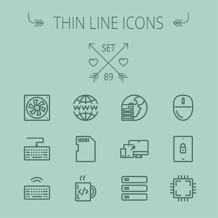 Technology thin line icon set for web and mobile. Set includes -simcard, computer cooler, keyboard, keyboard with wifi, optical drive, 3 devices, computer mouse, circuit board. Modern minimalistic flat design. Vector dark grey icon on grey background
