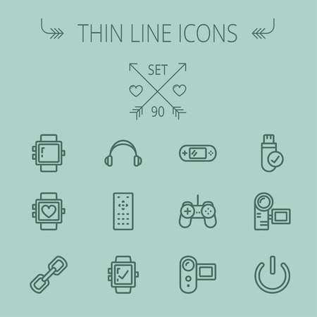 watch video: Technology thin line icon set for web and mobile. Set includes -video game, joystick, digital cam, power button, remote control, digital watch, USB . Modern minimalistic flat design. Vector dark grey icon on grey background Illustration