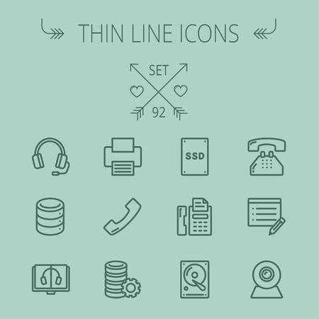 ssd: Technology thin line icon set for web and mobile. Set includes - headphones, server, printer, fax machine, telephone receiver, SSD, web cam. Modern minimalistic flat design. Vector dark grey icon on grey background