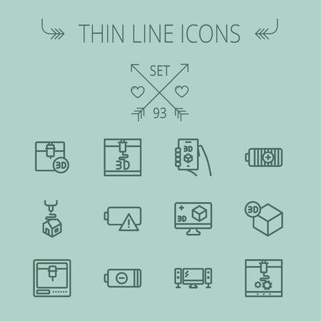 Technology thin line icon set for web and mobile. Set includes - 3D printer, 3d box, tv with speakers, battery. Modern minimalistic flat design. Vector dark grey icon on grey background