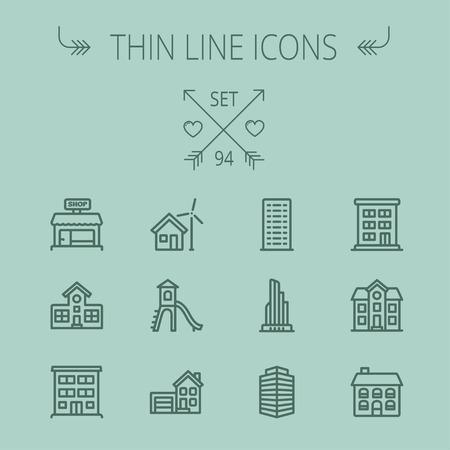 Bouw dunne lijn icon set voor web en mobiel. De set bevat -House, speelhuisje, huis met garage, gebouwen, winkel winkel. Modern minimalistisch plat design. Vector donkergrijs pictogram op een grijze achtergrond Stock Illustratie