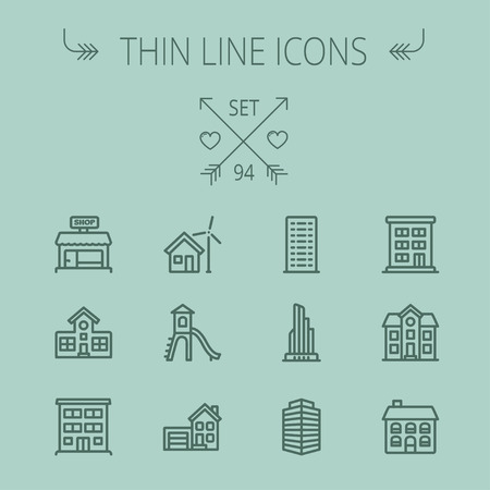 interface icon: Construction thin line icon set for web and mobile. Set includes -house, playhouse, house with garage, buildings, shop store. Modern minimalistic flat design. Vector dark grey icon on grey background