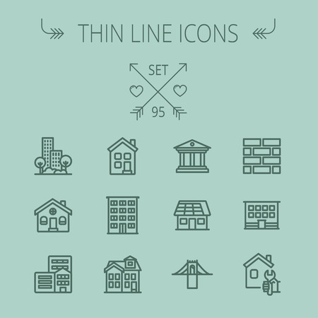 Construction thin line icon set for web and mobile. Set includes - museum, house with solar panel, bridge, building, bricks, hotel. Modern minimalistic flat design. Vector dark grey icon on grey background