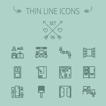 interiors: Construction thin line icon set for web and mobile. Set includes- pipeline, structure, door, window, appliances, furnitures, interiors, paintbrush. Modern minimalistic flat design. Vector dark grey icon on grey background