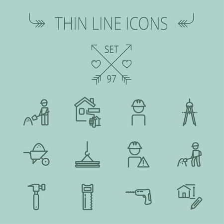 construction dozer: Construction thin line icon set for web and mobile. Set includes- compass, house sketch, man with hard hat, hammer drill, house paint, crane, hacksaw, hammer. Modern minimalistic flat design. Vector dark grey icon on grey background