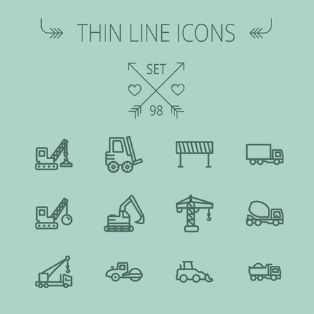 heavy construction: Construction thin line icon set for web and mobile. Set includes- forklift, road roller, cranes, dump truck, road barrier, delivery truck, mixer. Modern minimalistic flat design. Vector dark grey icon on grey background Illustration