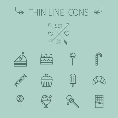 Food and drink thin line icon set for web and mobile. Set includes- cake, candy, lollipop, cupcake, ice cream, honey dipper, popsicle, waffle icons. Modern minimalistic flat design. Vector dark grey icon on grey background.