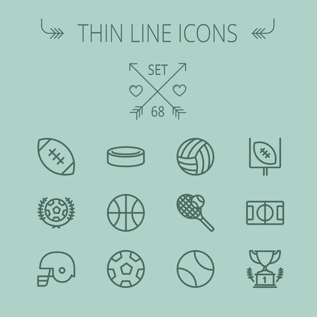 grey line: Sports thin line icon set for web and mobile. Set includes- volleyball, basketball, hockey puck, tennis, soccer, football, trophy, helmet icons. Modern minimalistic flat design. Vector dark grey icon on grey background.