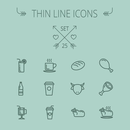 lime juice: Food and drink thin line icon set for web and mobile. Set includes- coffee, soda, lime, juice, bread, poprk meat, chicken, cow, fried chicken icons. Modern minimalistic flat design. Vector dark grey icon on grey background.