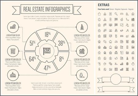 Real Estate infographic template en elementen. Stock Illustratie