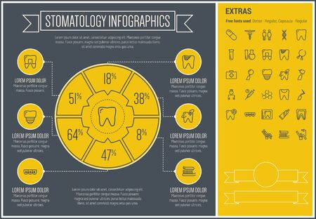 Stomatology infographic template and elements.