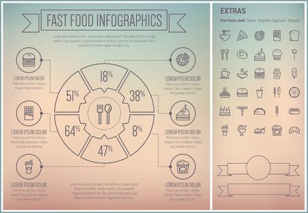ファーストフード インフォ グラフィック テンプレートと要素。