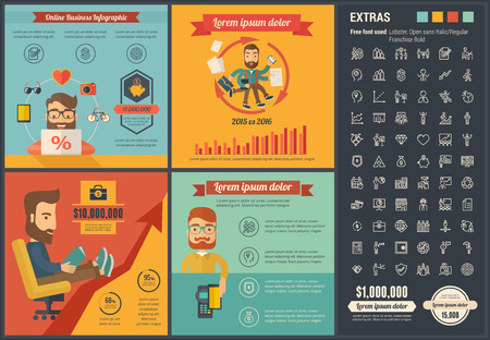 online: Online Business infographic template and elements.
