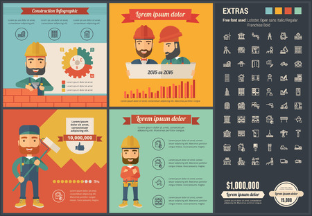 construction equipment: Construction infographic template and elements. The template includes illustrations of hipster men and huge awesome set of thin line icons. Modern minimalistic flat vector design.