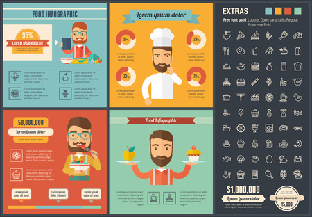 Food infographic template and elements.  Çizim