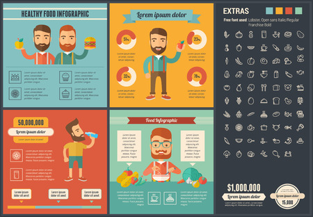 people eating: Healthy Food infographic template and elements.