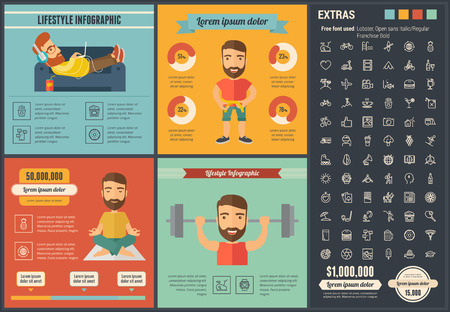 jogging: Lifestyle infographic template and elements. Illustration