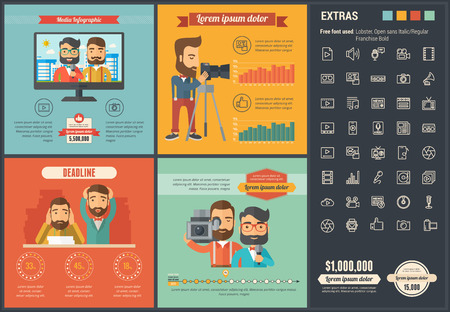 Media infographic template and elements.