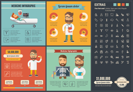 Medicine infographic template and elements.