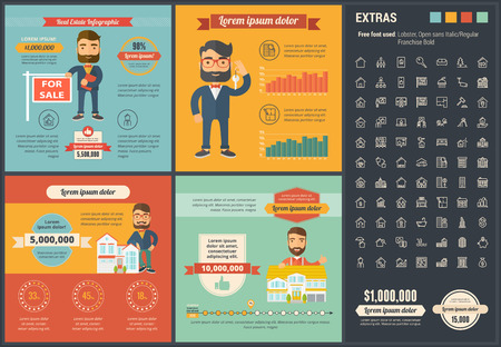 real people: Real Estate infographic template and elements.