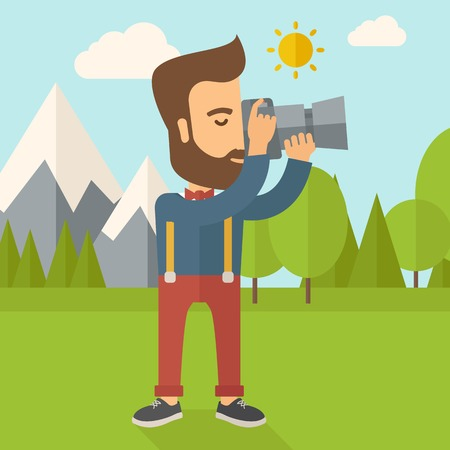 taking picture: A Caucasian photographer taking a picture with the trees under the sun. Vector flat design illustration. Square layout. Illustration
