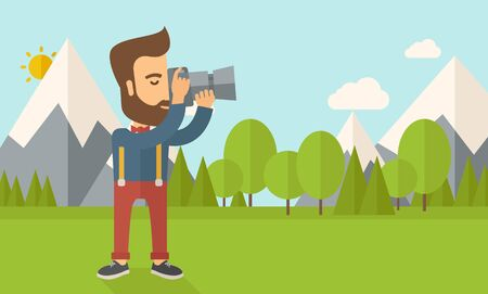taking picture: A Caucasian photographer taking a picture with the trees under the sun.  Vector flat design illustration. Horizontal layout.