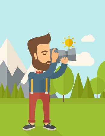 taking picture: A Caucasian photographer taking a picture with the trees under the sun. Vertical layout with text space on top part. Illustration