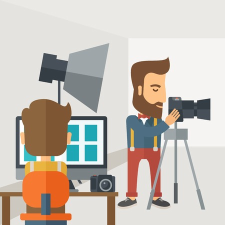 A Photography studio with a light set up and white backdrop and his companion with laptop for developing the picture. A Contemporary style with pastel palette, soft grey tinted background. Vector flat design illustration. Square layout. 向量圖像
