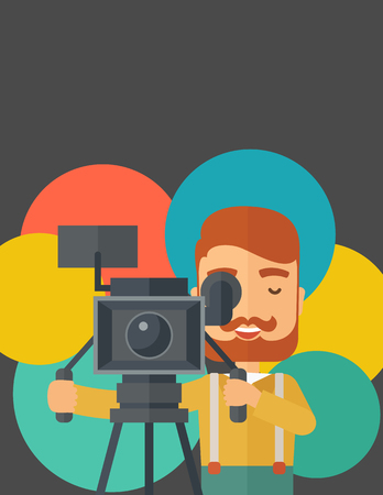 videographer: A caucasian videographer taking a video. A contemporary style with pastel palette black tinted and colorful round background. Vector flat design illustration. Vertical layout with txt space on top part. Illustration
