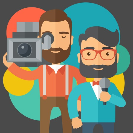 A professional caucasian journalist and news reporter with video camera and microphone broadcasting. A contemporary style with pastel palette black tinted and colorful round background. Vector flat design illustration. Square layout.