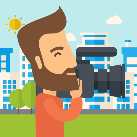 cinematographer: A hipster cameraman with video camera taking a video with thye buildings around. A Contemporary style with pastel palette, soft blue tinted background with desaturated clouds. Vector flat design illustration. Square layout.