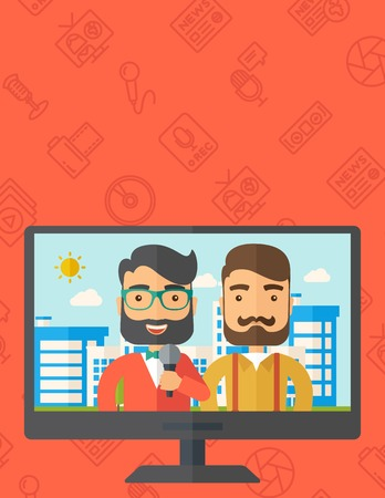 A dialog with two caucasian newscaster in a televesion. A Contemporary style with pastel palette, orange background. Vector flat design illustration. Vertical layout with text sapce on top part.