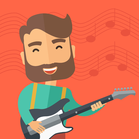 cartoon singing: A singing musician playing electric guitar. Vector flat design illustration. Square layout.