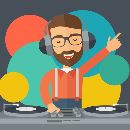 disc jockey: A caucasian disc jockey with headphone mixing music inside the studion room. A contemporary style with pastel palette black tinted and colorful round background. Vector flat design illustration. Square layout.