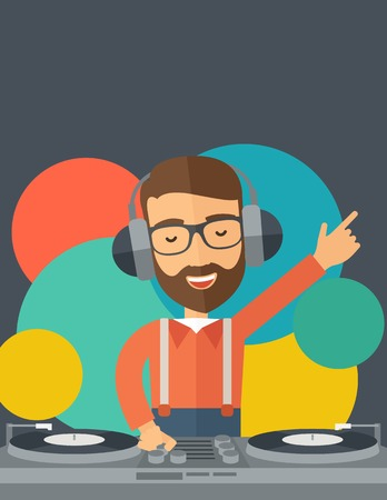 disc jockey: A caucasian disc jockey with headphone mixing music inside the studion room. A contemporary style with pastel palette black tinted and colorful round background. Vector flat design illustration. Vertical layout with text space on top part.