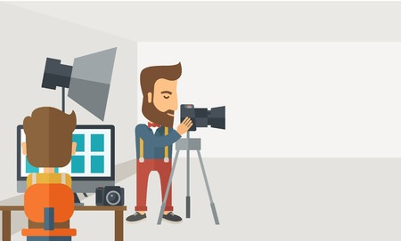 photography backdrop: A Photography studio with a light set up and white backdrop and his companion with laptop for developing the picture. A Contemporary style with pastel palette, soft grey tinted background. Vector flat design illustration. Horizontal layout with text sapce Illustration
