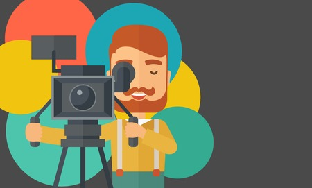 videographer: A caucasian videographer taking a video. A contemporary style with pastel palette black tinted and colorful round background. Vector flat design illustration. Horizontal layout with text space in right side. Illustration