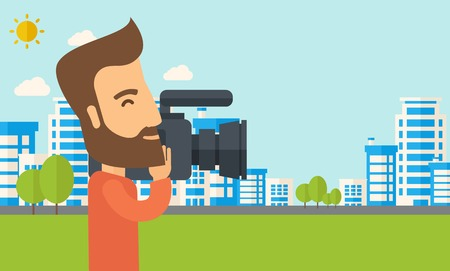 cinematographer: A hipster cameraman with video camera taking a video with thye buildings around. Vector flat design illustration. Horizontal layout.